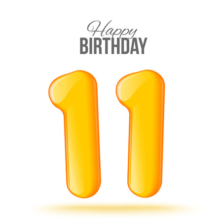 number 11: The number eleven, 11 th greeting card with 3d number eleven. The volume figure 11 years. Positive, colorful, figure. illustration. Inflatable yellow eleven. Sample card. celebrating birthday. Stock Photo