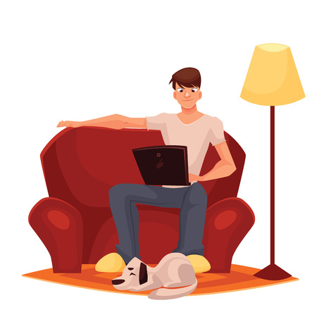 man working at home on the couch, vector cartoon comic illustration isolated on a white background, a man sitting on a red couch with a laptop, working remotely via the internet, work at home