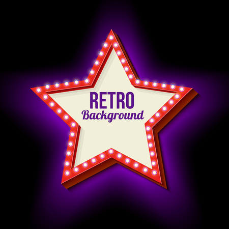 Retro sign with neon lights. Star Frame with glowing lights. 3d frame with a blank space for your text, messages, advertising, business. Ready sample. Violet light is incident on a black wall.