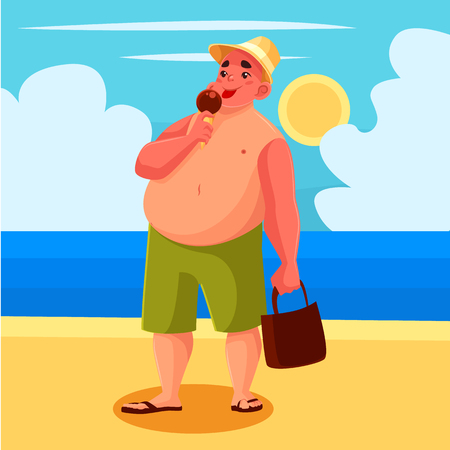 Fat man eating ice cream on the beach, cartoon comic illustration, one man has a sweet ice cream on the beach on holiday, a sunny beach with the sea and the fat man on vacation