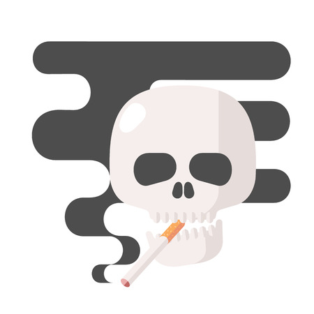 Icons about smoking, vector illustration flat, the dangers of smoking, health problems due to smoking, human skull, nicotine dangerous smoke, danger to life and limb due to nicotine Archivio Fotografico - 128168806