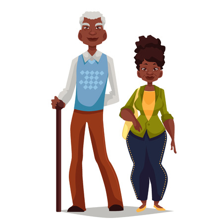 Elderly couple woman and man, vector cartoon comic illustration isolated on white background, couple, African grandparents happy elderly couple African American grandparents are standing to each other Stock Vector - 128168811