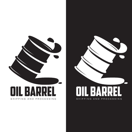 steel drum: barrel of black oil, vector illustration contour isolated on white background Illustration