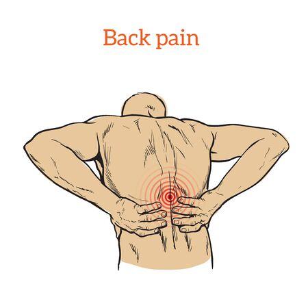 violation: dolor lumbar en un hombre dolor de espalda en un esbozo del hombre, ilustración de color con el concepto de la enfermedad hacia atrás, violación de la cintura, vértebras lumbares y los discos intervertebrales