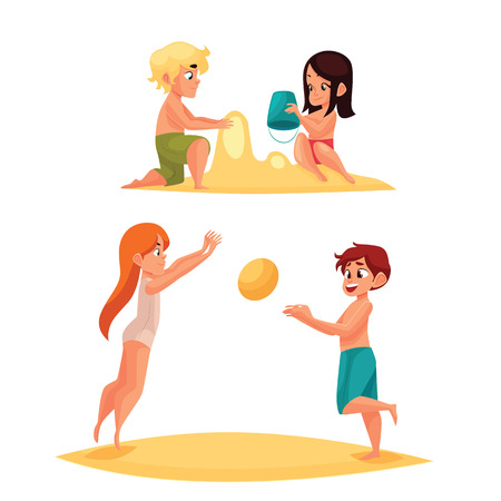 child girl: Children playing on sandy beach, comic cartoon illustration on white background, children build sand castles, children playing in the sea in an inflatable beach ball, active children at beach