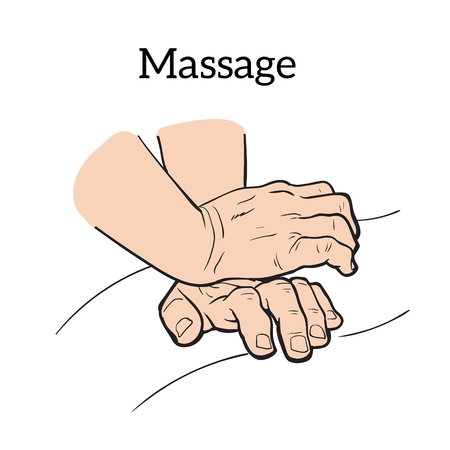 relaxation massage: Hands doing massage icon sketch illustration on a white background, concept of health relaxation massage icon, massage your hands for medical purposes icon