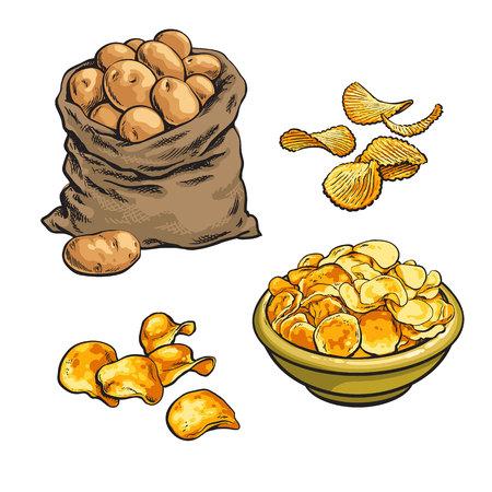 Chips de pommes de terre frites et frais, vecteur croquis illustration dessinée à la main isolé sur fond blanc serti de pommes de terre, frites Vaus croustilles, frites dans un sac dans un bol Banque d'images - 59017116