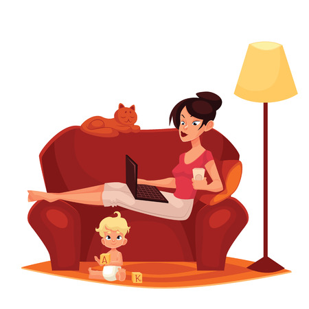 Young mother is working at home, cartoon comic illustration isolated on white background, woman, mother sitting on the couch with a computer ready, Internet, child homes, mom freelance women Standard-Bild