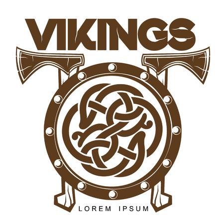 白い背景に、軸、スカンジナビア デザイン ケルト ロゴ ロゴ北欧木製戦闘のシールドに分離されたシンプルなロゴのベクトル イラスト軸で戦いバイ