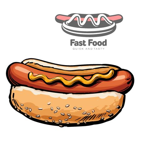 set of illustrations and logo hot dog vector illustration sketch drawn by hand, isolated on a white background, sketch hot dog closeup hot dog and logo design for business, fast food industry Illustration