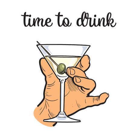 intoxicating: Hand holding a full martini glass, illustration sketch art by hand, isolation on a white background male hand with a stack owith strong alcohol, the concept of time to drink alcohol