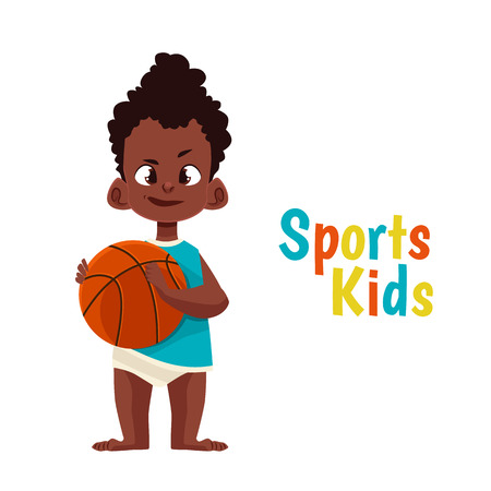 kicks: Baby in diaper playing basketball, cartoon comic illustration isolated on white background baby with a pacifier kicks a basketball, the baby in diaper playing sports