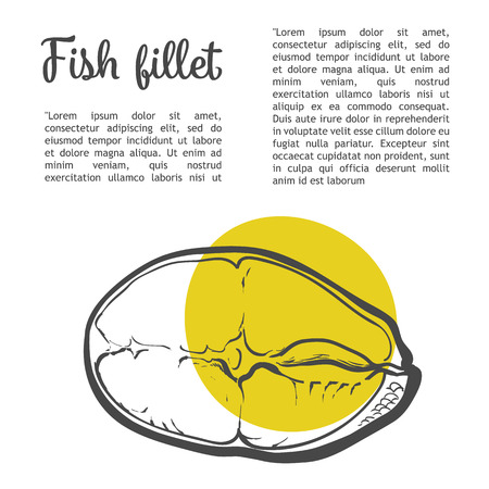 salmon fillet: Salmon fillet, sketch art of hands isolated on white background, fillet of red sea fish sectional lettering inscription
