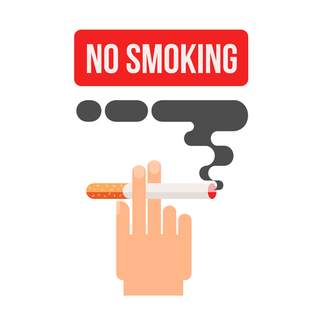 dangers: Icons about smoking, illustration flat, the dangers of smoking, health problems due to smoking, hand holding a cigarette, danger to life and limb due to nicotine Stock Photo