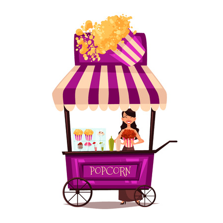 Selling popcorn on the street, comic cartoon illustration isolated on white background, seller sells popcorn on a mobile shop, selling fast food made from popcorn