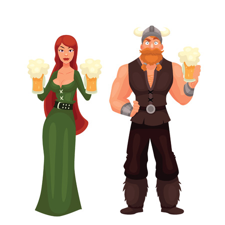 Scandinavian man and woman Required to have a beer, cartoon comic illustration isolated on white background, red-haired girl in a green dress viking beer, red bearded Scandinavian drinking beer Stock Photo