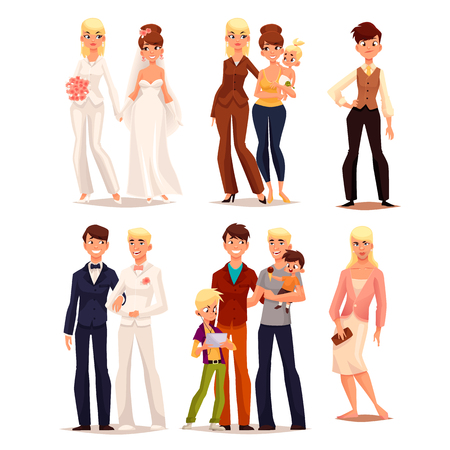 다른 가족, 벡터 집합 흰색 배경에 고립 된 만화 만화 일러스트 레이 션, 동성 애자, 아이의 가족, 트랜스 젠더 불확실성, 남자 드레스, 용감한 여자