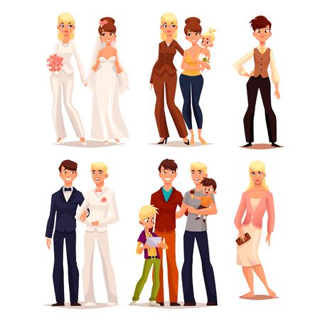 conjunto de diferentes famílias, ilustração em quadrinhos cartoon vetor isolada em um fundo branco, casamento gay, com a família da criança, a incerteza transgênero, um homem em um vestido, mulher corajosa