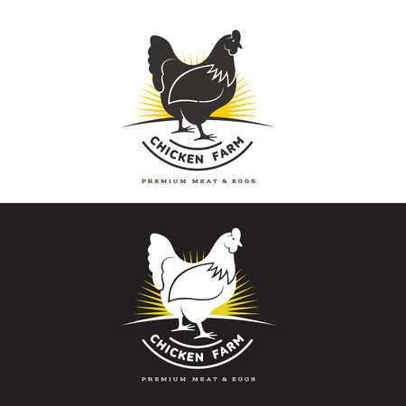 about: set of logos with chicken, vector illustration, isolated on a white background, with different logos chicken and yellow, simple logos about chicken, meat and eggs, the production of poultry meat