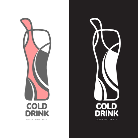 coupling: Coke in a bottle logo, vector logo design isolated on a white background, logo design concept fast Coupling sweet fizzy drink, logo design of a bottle of lemonade