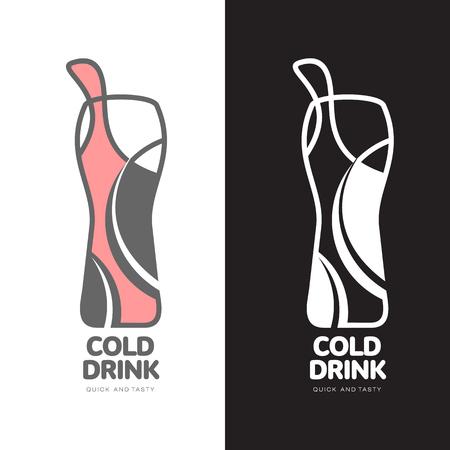 coupling: Coke in a bottle logo, vector logo design isolated on a white background, logo design concept fast Coupling sweet fizzy drink, logo design of a bottle of lemonade