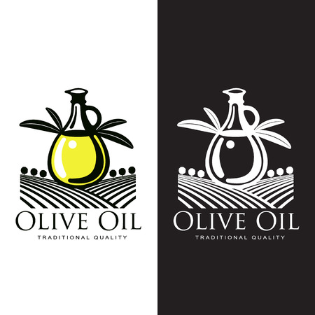 Logo Set about olive oil, vector illustration logos isolated on a white background, simple logos with olives and olive oil, black and yellow color design symbols Ilustração