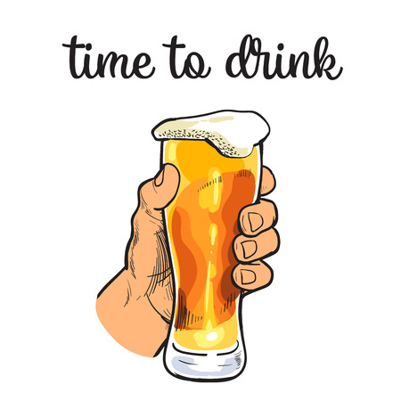 intoxicating: Hand holding a full glass of beer, illustration sketch narisovany by hand, isolation on a white background male hand with a mug of foamy golden beer, the concept of time to drink alcohol