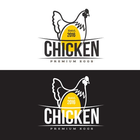 Set di loghi con pollo, illustrazione vettoriale, isolato su uno sfondo bianco, con loghi pollo e giallo, loghi semplici di pollo, carne e uova, la produzione di carni di pollame
