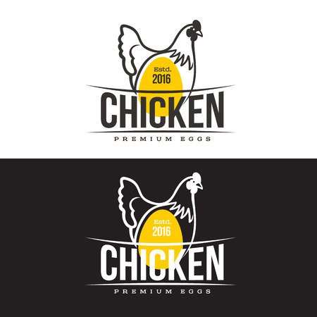 set of logos with chicken, vector illustration, isolated on a white background, with logos chicken and yellow, simple logos about chicken, meat and eggs, the production of poultry meat