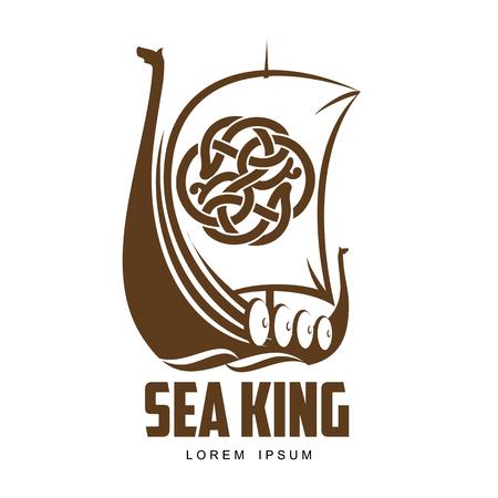 Spedisca l'illustrazione semplice di vettore di logo di Viking isolata su un fondo bianco, una barca di Viking con i bordi di legno protettivi, navigante una barca di Viking Archivio Fotografico - 61939763