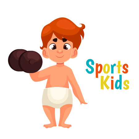hand with dumbbell: baby in diapers with a dumbbell, cartoon comic illustration isolated on a white background, a strong baby kantele raises one hand, the infant the winner in the sport, a great willpower