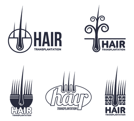 centers: Set of hair transplantation logo templates, vector illustration isolated on white background. Hair loss treatment. Logos for medical hear transplantation centers