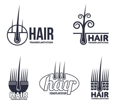 Set of hair transplantation logo templates, vector illustration isolated on white background. Hair loss treatment. Logos for medical hear transplantation centers