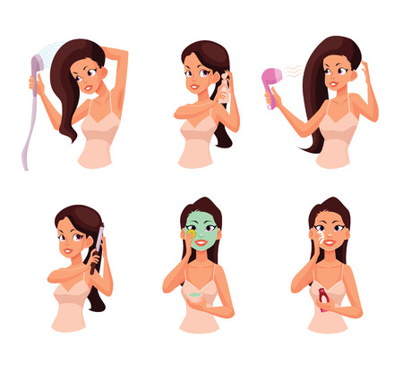 girls night out: Colorful cartoon style vector illustration of pretty woman doing beauty procedures. Isolated on white background. Face and hair beauty treatments. Routine cosmetic procedures Illustration