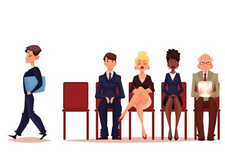 Gli uomini d'affari, uomini e donne seduta e in attesa per un colloquio, illustrazione vettoriale isolato su sfondo bianco. Set di affari cartone animato e imprenditrici in attesa di colloquio di lavoro