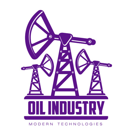 set of logos with oil, vectors flat illustration isolated on white background. the oil company. the industry of oil and gas, construction logo on petroleum production
