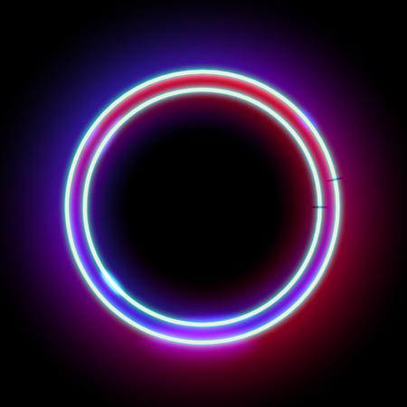 ネオンの抽象的なラウンド。輝くフレーム。ヴィンテージ電気シンボル。クラブ、バー、カフェの黒い壁へのポインターを書き込みます。広告、看