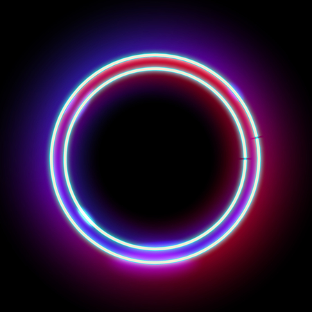 Neon abstract round. Glowing frame. Vintage electric symbol. Burning a pointer to a black wall in a club, bar or cafe. Design element for your ad, sign, poster, banner. illustration Stock Photo