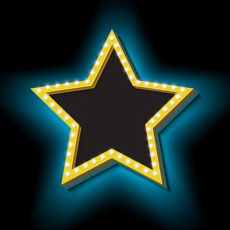 hollywood star: 3d retro star with glowing neon lights. Vintage frame realistic yellow star on a black wall. Icon for your banner. Design a symbol for your advertising text. illustration