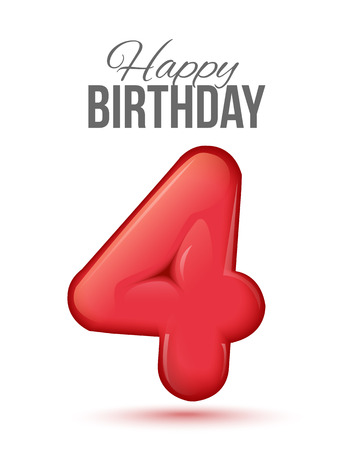Sample greeting card to the 4 th anniversary. Air 3D red numbers from the figures. Invitation card to the party with balloons on a white background. Suitable for printing, web delivery, the jubilee
