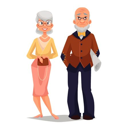older woman smiling: elderly couple man and woman, comic cartoon illustration isolated on white background, beautiful thin and well-groomed old man and an old woman, a happy elderly couple grandparents Stock Photo