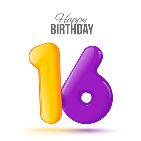 Sample greeting card to the 16 th anniversary. Air 3D red numbers from the figures. Invitation card to the party with balloons on a white background. Suitable for printing, web delivery, the jubilee Stock Photo