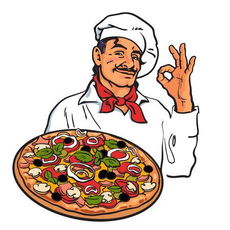 Sonriendo Italiana chef sosteniendo pizza en la mano, ilustración del vector del estilo del bosquejo aislado sobre fondo blanco. Bosquejo de chef encantador que sirve pizza italiana