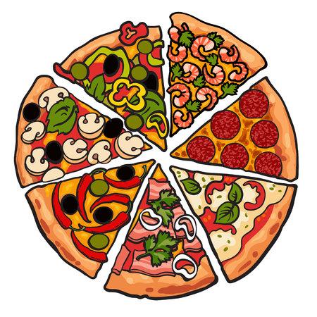 Conjunto de piezas de pizza Vaus, ilustración dibujo vectorial de estilo aislados sobre fondo blanco. Rebanadas de mashroom pepperoni pizza de queso de pimienta camarones recién horneados y sabroso. comida rápida americana italiana