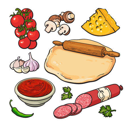 pizza dough: Set of sketch style pizza ingredients, vector illustration isolated on white background. Basic ingredients for cooking pizza - dough cheese mushrooms tomatoes garlic salami