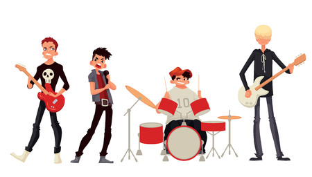 solo: Cartoon rock group musicians vector illustration isolated on white background. Rock star singer guitarist drummer solo guitarist bassist. Isolated vector rock band musicians