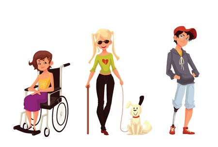dog wheelchair: Group of disabled children, cartoon vector illustration isolated on white background. Special needs, handicapped kids. Girl in wheelchair, blind girl with stick and assistance dog, boy with prostheses