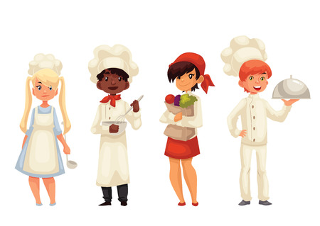 stirring: Children chefs cartoon vector illustration isolated on white background. Set of chef kids standing, serving food, holding vegetables and stirring bowl. Happy little cookers in hats and uniform
