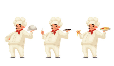 Chef serving food cartoon vector illustration isolated on white background. Respectable italian chef in hat and uniform serving dish sushi pizza. Set of same cook holding different dishes