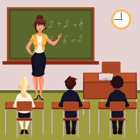 primary school: Teacher and pupils in classroom cartoon vector illustration. Classroom with green chalkboard desk tables and chairs. Math lesson in primary school with young attractive teacher